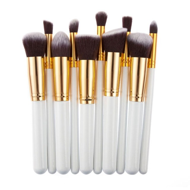 10 piezas Mini plata oro maquillaje cepillos pincel, maquiagem cosméticos Blush en polvo Fundación pincel de maquillaje herramientas pelo sintético