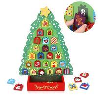 UNOMOR Christmas Countdown Calendar Wooden Advent Calendar Christmas Tree Decor