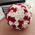 На Складе Элегантный Бисера Красный Кристалл Свадебный Букет Розы Цветы Жемчуг Ручной Свадебные Букеты