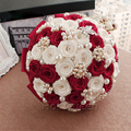 In Stock Elegant Beaded Crystal Red Wedding Bouquet Rose Flowers Pearl Handmade Bridal Bouquets