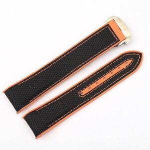 Image 2 - 20m 22mm Nylon Rubber Silicone Watch Band for Omega Watch Strap Seamaster Planet Ocean 8900 9900 Orange Black Blue Bracelets