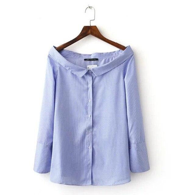 2017 Spring Women Blouse Shirts Blue Ladies Strip Tops Elegant Sailor Collar Long Sleeve Knotting blusas mujer BBWM1666