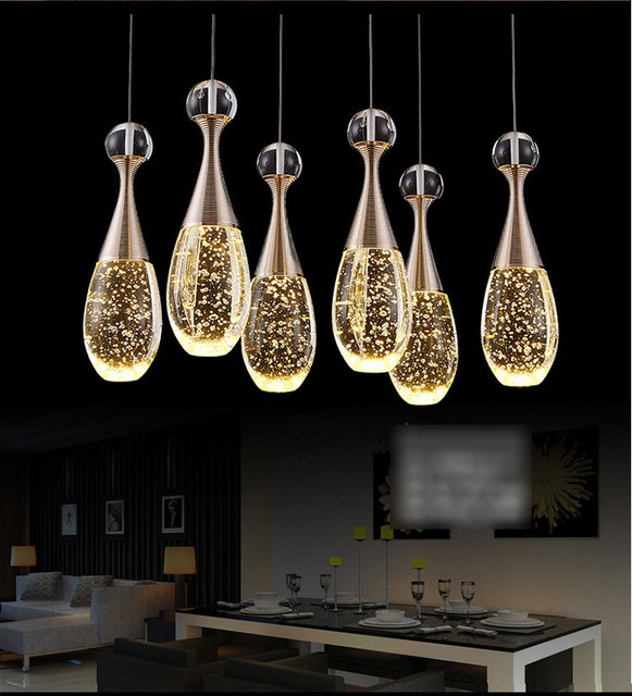Led di cristallo lampade a sospensione ristorante sala da pranzo moderna semplice tre tavolo - Lampade sopra tavolo da pranzo ...