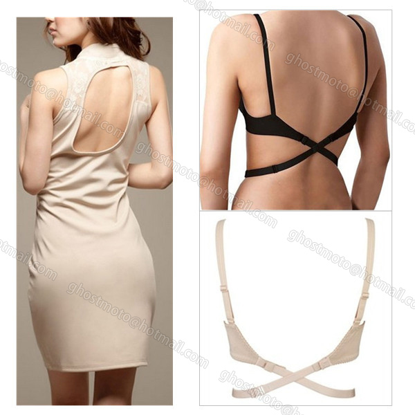 Low Back Shoulder Strap Cross Belt Converter Bra Extension Adjuster As Adjustable Sexy Backless Wedding Dress