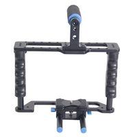 Black Aluminum Alloy Portable DSLR Camera Cage for Cameras and Camcorders,DSLR Camera Cage Rig for BMCC BlackMagic Cinema Camera