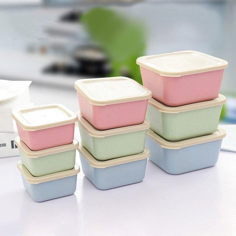 3 Pz/set Paglia Di Grano Scatola Di Conservazione Degli Alimenti Lunch Box Sigillata Frutta Contenitore Di Alimento A Tenuta Bento Box Picnic Lunchbox Stoviglie Set