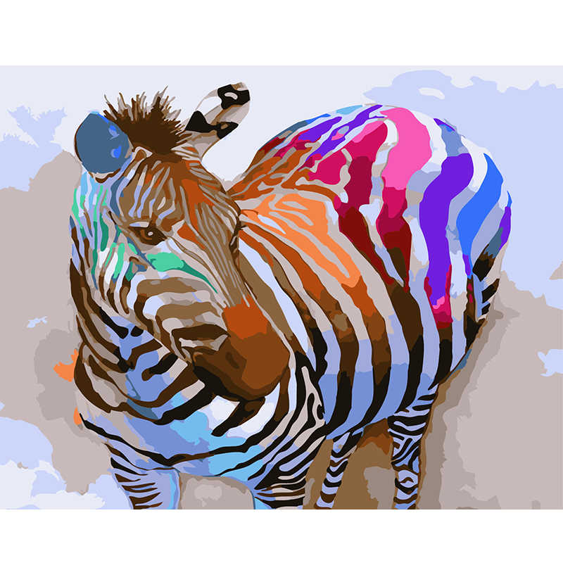 Framess pictures Painting By Numbers Animal Painting Color zebra Art Home Decoration Wall Canvas Painting For Living Room