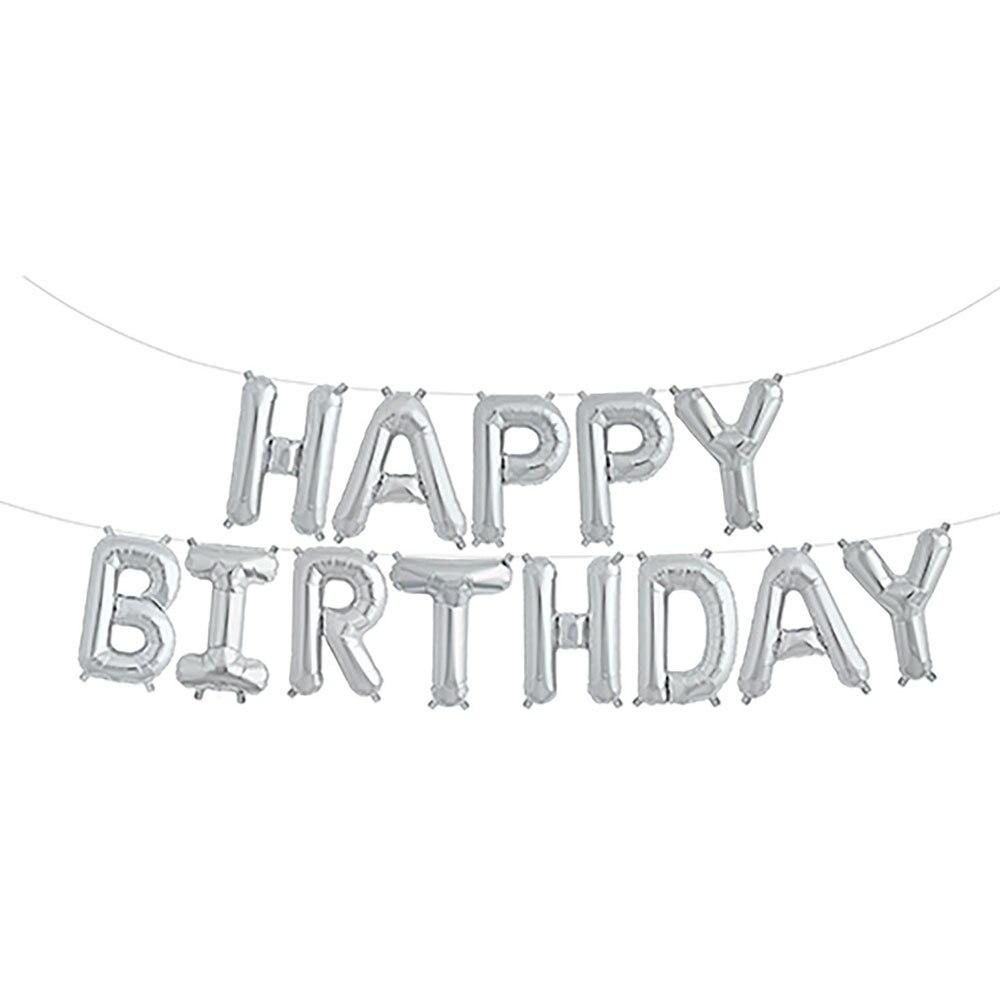 """С днем рождения воздушные шары плакат """"с днем рождения"""" воздушный шар Модный золотой серебряный 13 букв праздничное мероприятие дети взрослый - Цвет: Silver"""