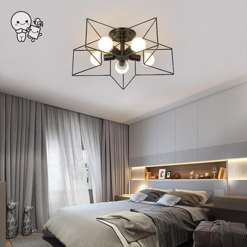 Black White Gold Iron Metal Star Lampshade Ceiling Light Fixture Nordic Hanging Lamp Lustre Plafon for Bedroom Corridor E27 E26