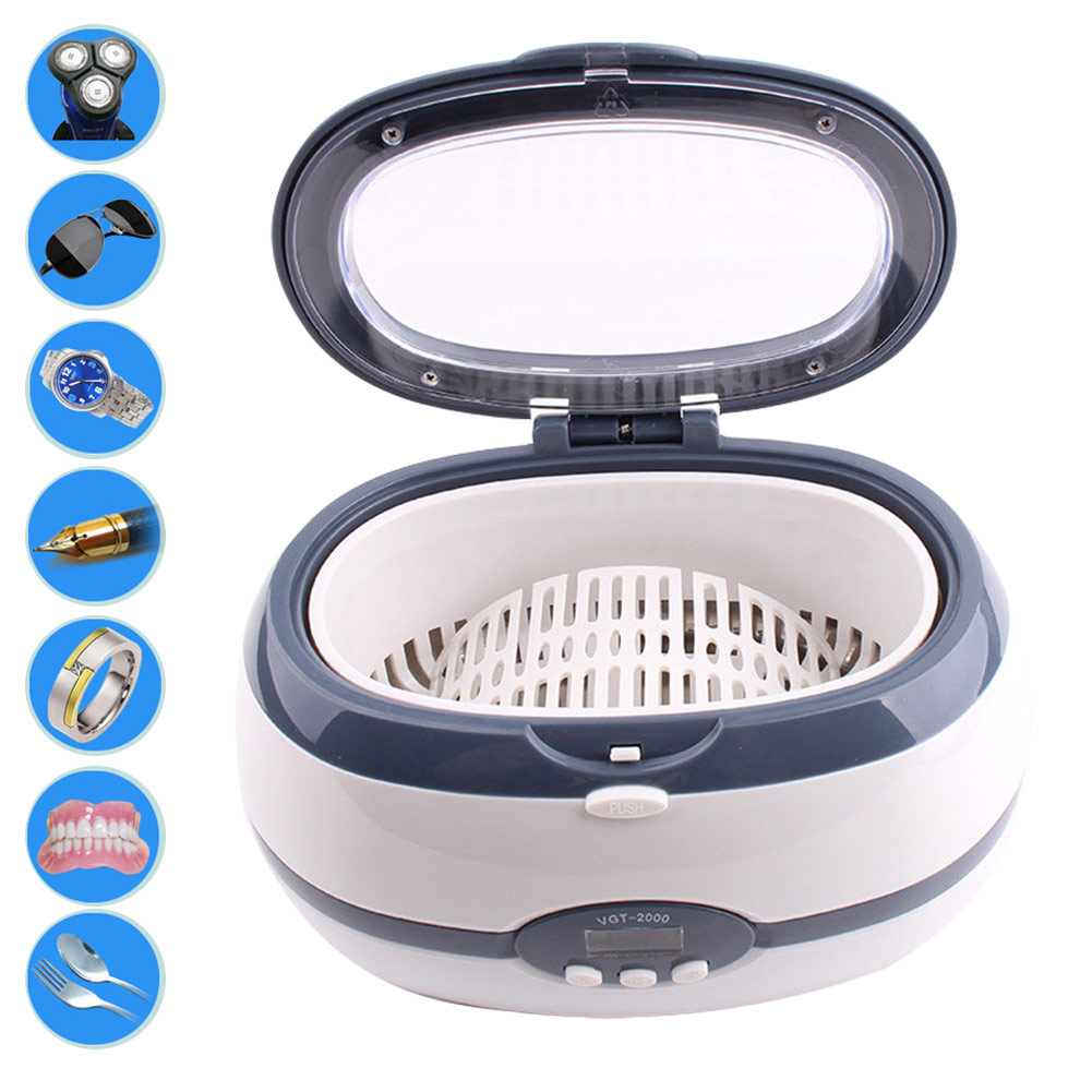Ultrasonic Cleaner Wash Bath Tank Baskets Jewelry Watches Dental Digital Ultrasonic Cleaner 600ML 220V-240V Makeup Remover FM88 жидкость thetford cassette tank cleaner