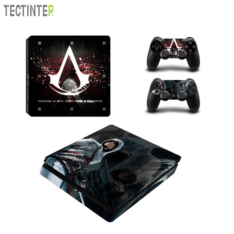 Assassin`s Creed Vinyl Decal For PS4 Slim Skin Stickers Vinyl Wrap for Sony PlayStation 4 Slim Console and 2 Controllers Skins