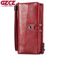 GZCZ Genuine Leather Women Wallet Female Long Clutch Lady Walet Zipper Style Portomonee Rfid Luxury Brand