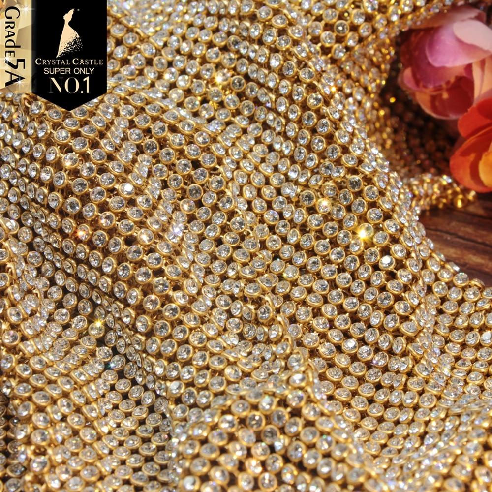 Crystal Castle Rhinestones For Fabric SS8.5-SS9 Strass With Mesh Crystal Mesh Textile Tassel Trim Non-Hotfix Rhinestones Sheet