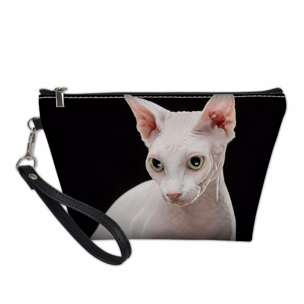NOISYDESIGNS Cosmetic Bags & Cases for Women Makeup Functional Bag Travel Organize Make Up Pouch Sphynx Canadian Hairless Cats