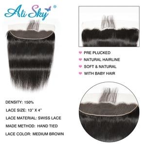 Image 4 - Бразильские пряди волос AliSky с фронтальным переплетением 13x4, прямые пряди волос с застежкой, человеческие волосы Remy