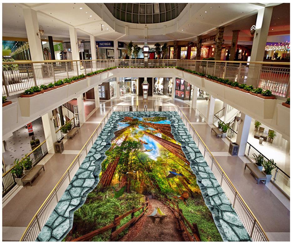 Custom Photo self-adhesive 3D floor forest birck 3d flooring bathroom 3d floor wallpapers  Photo wallpaper mural floor