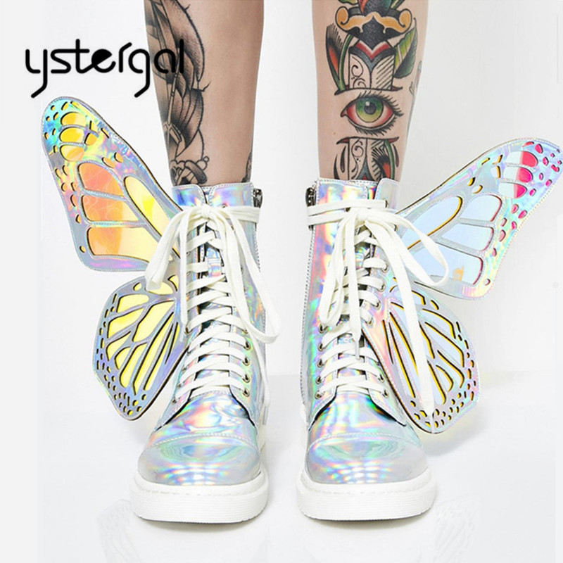 Ystergal 2019 nouvelles ailes de papillon femmes bottes courtes mode hiver chaud plat bottes d'équitation dames en caoutchouc Botas Mujer hauts