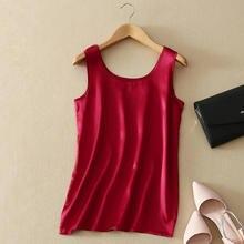2018 ผ้าไหมแท้ 100% ฤดูร้อนแฟชั่นผู้หญิงเสื้อแขนกุดนุ่มธรรมดาเสื้อกั๊ก Basic เสื้อ T คุณภาพดีสบายๆ camisole