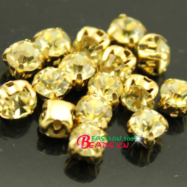 4 5 7 8mm jonquil Sew on flatback claw faceted crystal cut glass Rhinestones  Diamante gold base trim montees 4holes Gems bead pk c84b3973cdb8