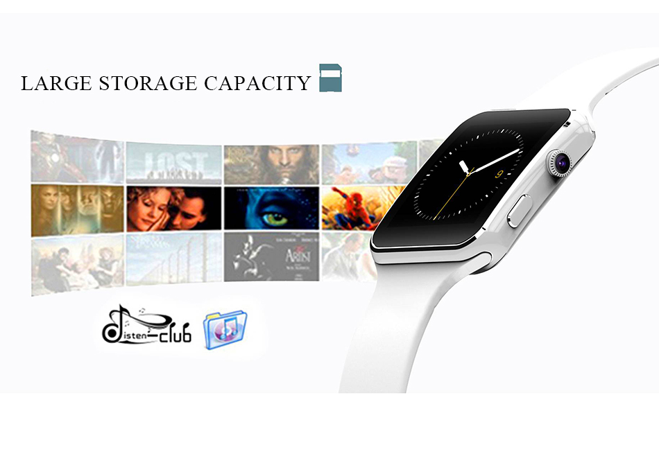 Smart watch touch screen X6 compatible with SIM card TF for IPhone Xiaomi Android IOS Storage Capacity