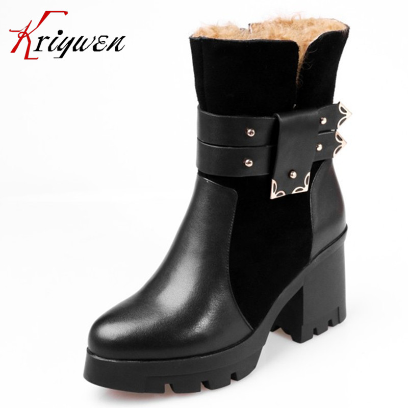 100% Genuine leather women shoes winter femmes botas plush solid mid-calf boots thick high heels buckle motorcycle snow boots mabaiwan handmade rivets military cowboy boots mid calf genuine leather women motorcycle boots vintage buckle straps shoes woman