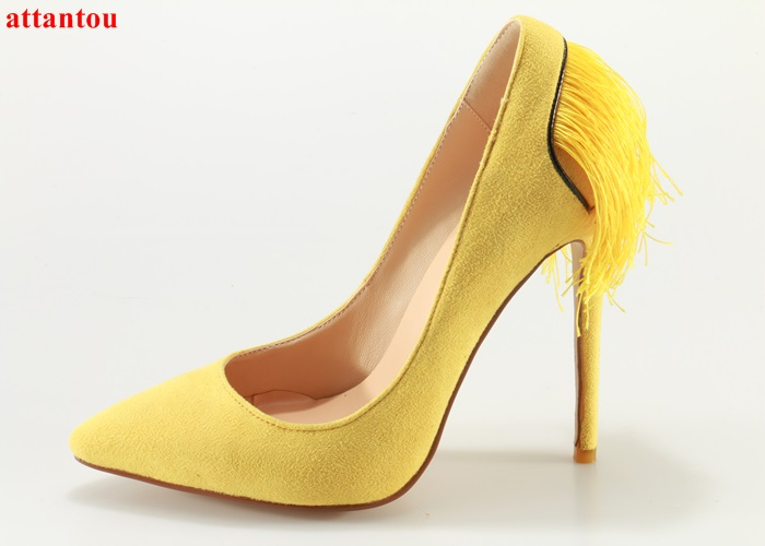 Fashion woman shoes heelpiece tassel decor high heels party wedding dress shoes thin heel female pumps slip-on pointed toe slip on high quality women pumps sexy thin high heels colorful rivet shoes female fashion pumps pointed toe wedding party shoes