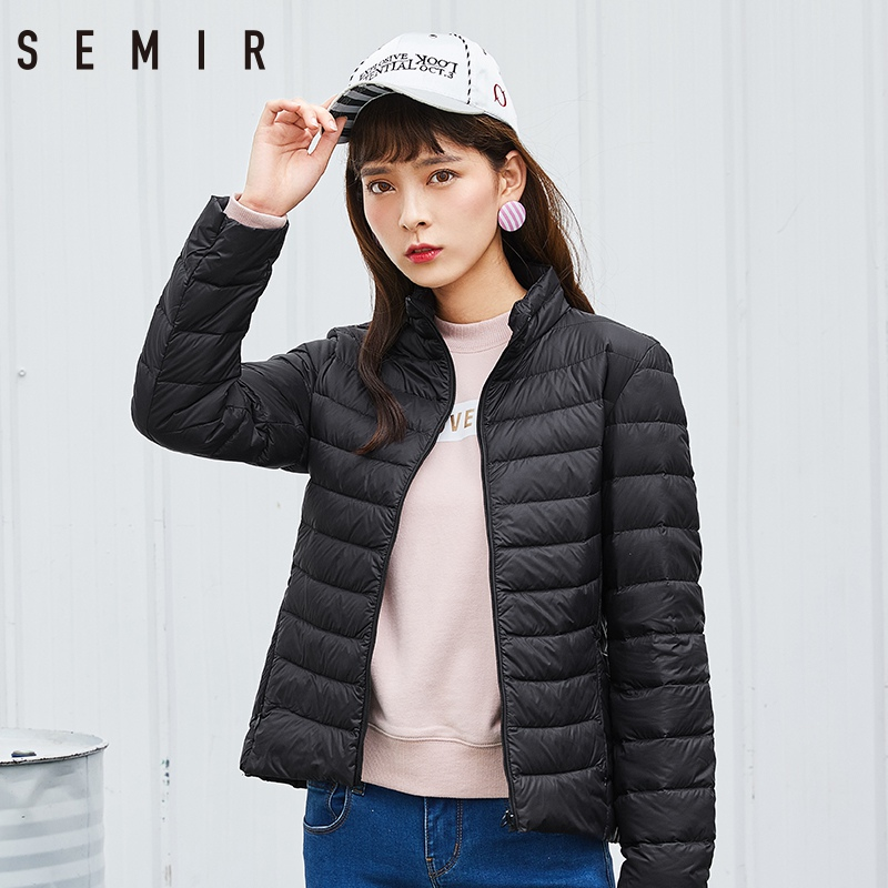 Semir Brand 2019 New Women 90% White Duck   Down   Jacket Lady Ultralight Duck   Down   Jacket Autumn Winter Warm   Coat   Female Windproof