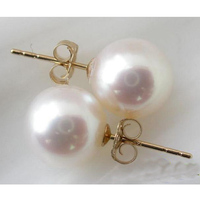 Genuine Pearl Earrings 9mm White Color Round Freshwater Pearl Stud Earrings Perfect Lady's Gift Jewelry Free Shipping