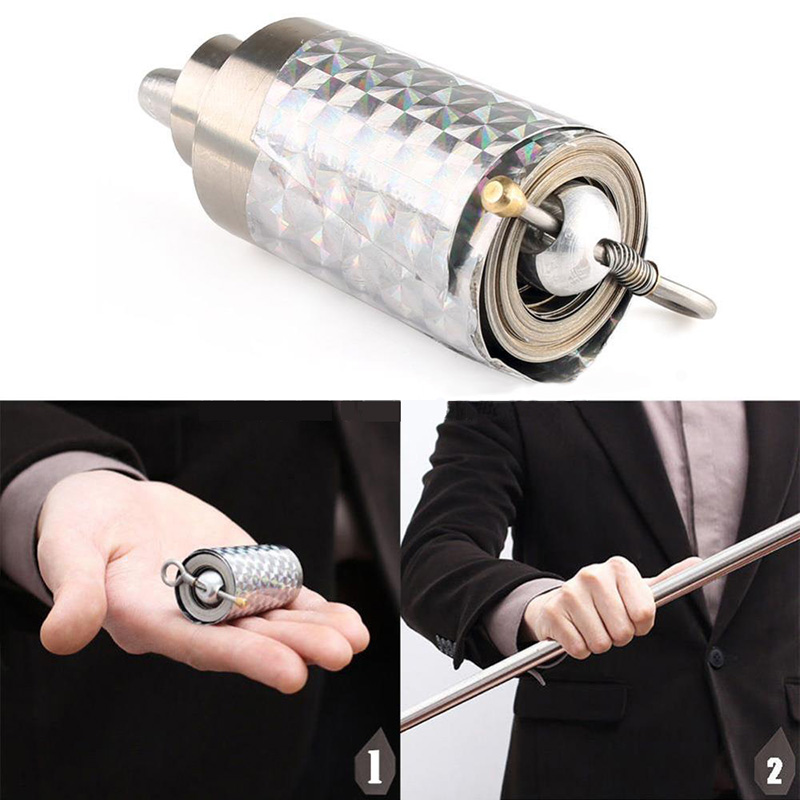 1 piezas 120 cm longitud apareciendo caña plata garrote metal trucos mágicos para el mago profesional etapa calle cerca ilusión