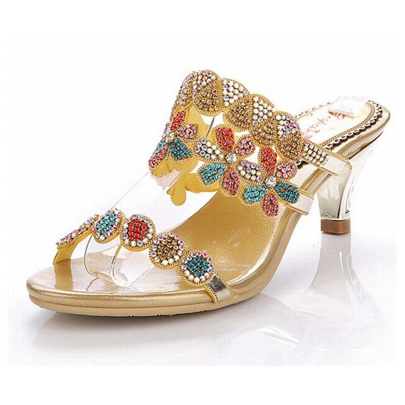 new hot 2018 women colorful rhinestone med high heels sandals gladiator woman rome slippers crystal flowers female summer shoes 2017 new ankle wrap rhinestone high heel shoes woman abnormal jeweled heels gladiator sandals women pvc padlock sandals shoes