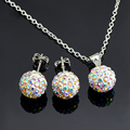 high quality plated Silver women girls Jewelry AB white 10mm ball stud Earrings Pendant Necklace Shamballa Set 24 colors