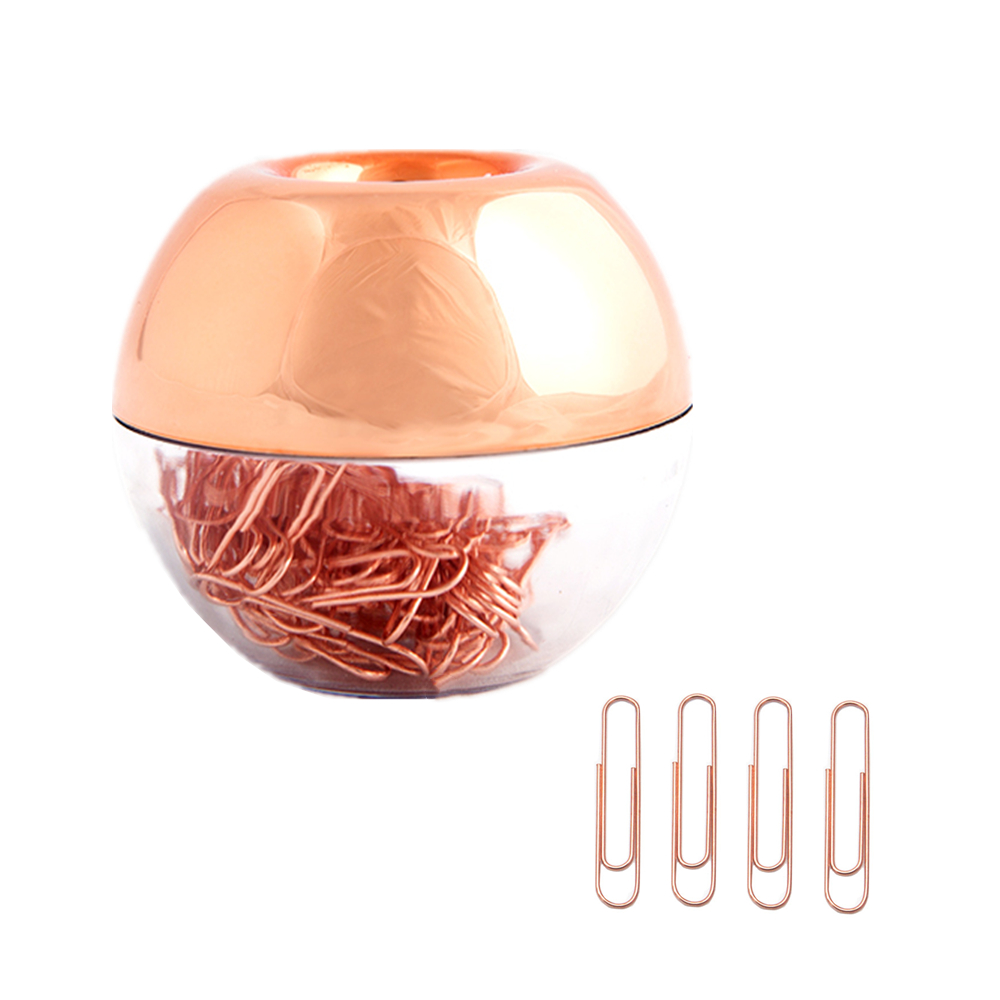 Rose Gold Paper Clips In Rosegold Round Paper Clip Dispenser Holder With Magnetic Lid For Office School Desk Organizer Supplies