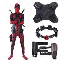 COSFANS 2018 Deadpool Costume Adult Man Spandex Lycra Zentai Bodysuit Halloween Cosplay Suit Belt Headwear Mask Sword holster