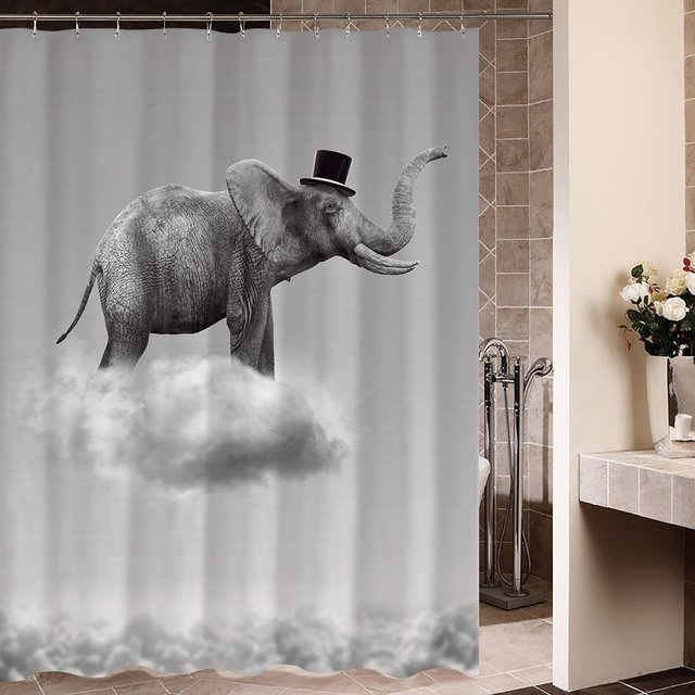 Memory Home Customized Fabric Shower Curtain Elephant Flying In The Clouds Waterproof Mildewproof Polyester Bath Curtains