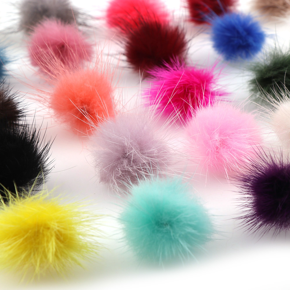 23 Colors 10pcs DIY Pompon 3cm Mink Pompoms Fur balls for Sewing On knitted keychain scarf shoes Hats DIY Jewelry Accessories