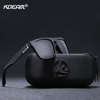 KDEAM New 2019 Summer Sunglasses Men Sports Sun Glasses Polarized Women Brand Mirror lens Square UV400 With Case KD156