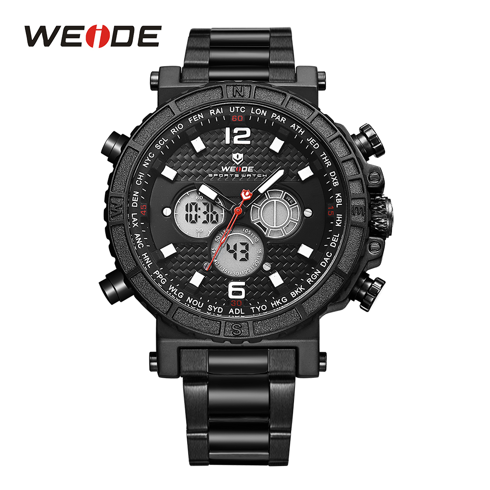 WEIDE Sport Watch Stop Alarm Watch Analog Quartz Backlight Date LCD Digital Display Hardlex Stainless Steel Band Men Wristwatch weide casual luxury genuin new watch men quartz digital date alarm waterproof clock relojes double display multiple time zone