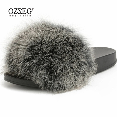 d902c4809 2018 hot Sale thickness bottom Women Fur Slippers Luxury Real Fox Fur Beach  Sandal Shoes Fluffy real Furry casual women slippers