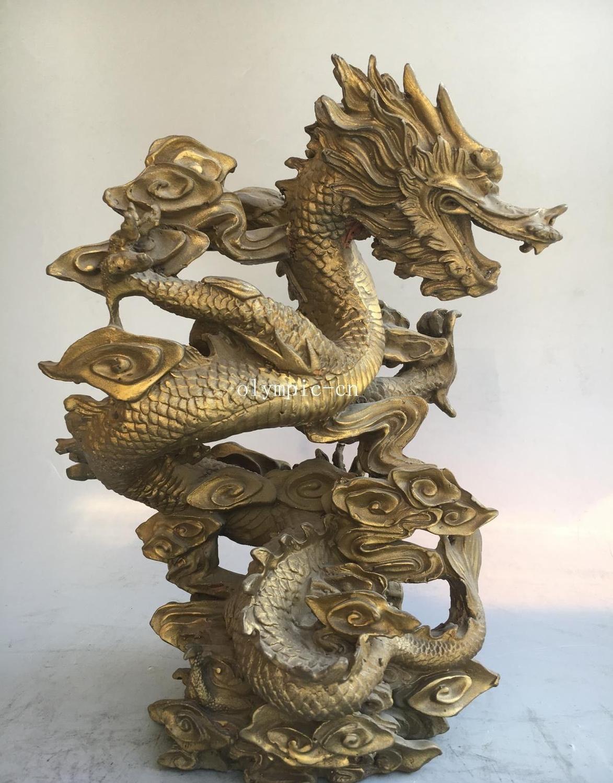11 ''laiton sculpté maison fengshui décor nuages de bon augure statue de Dragon chinois