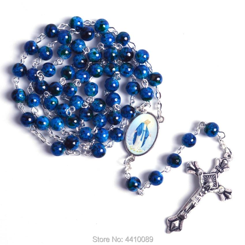 Catholic Rosary Small Size Round Blue Glass Beads Virgin Mary Jesus Necklace Women