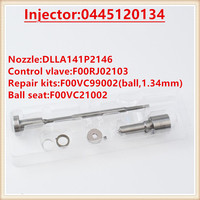 4SET 0445120134 Injector Nozzle DLLA141P2146 Valve F00RJ02103  Overhaul Repair Kits Diesel Injector 0 445 120 134