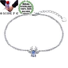 OMHXFC Wholesale European Fashion Woman Girl Party Birthday Wedding Deer Horn Moonstone 100% S925 Sterling Silver Bracelet BC32(China)