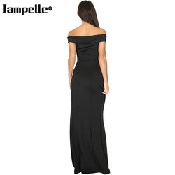 Women Sexy Off Shoulder Sleeveless Female Dress Side High Slit Casual Solid Color Bodycon Elegant Maxi Party Dress Sales 3