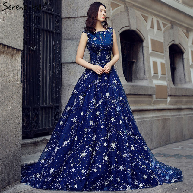 Newest 2018 High End Y Bridal Wedding Dress Indigo Blue Sleeveless Photography Weddding Gown Real