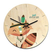 New Arrival Clock Watch Wall Clock Wood Cartoon Acrylic Mute Clocks Home Decoration Living Room UV Painting Wall Watch With Hook