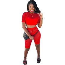 MUXU red sexy transparent cropped 3 piece set women top and pants clothing sweat suits