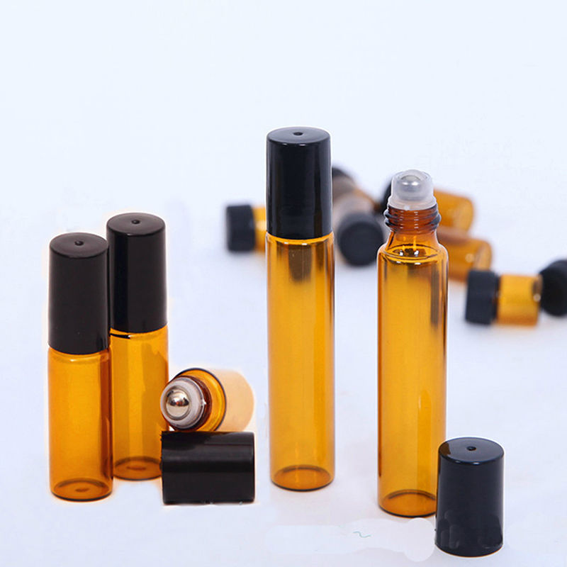 10pcs 5 10ml Amber Glass Bottle Roller Ball Perfume