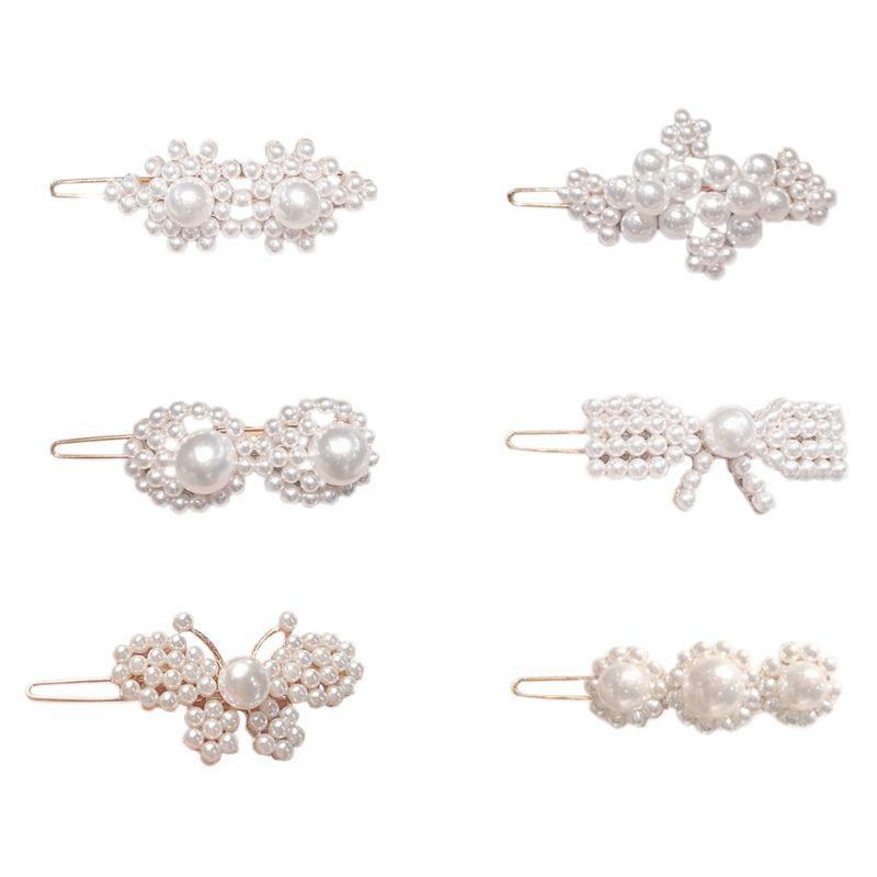 Korean Vintage Frog Bobby Pins Ladies Girls Imitation Pearl Butterfly Flower Side Bangs Hair Clip Styling Barrette Birthday Gift