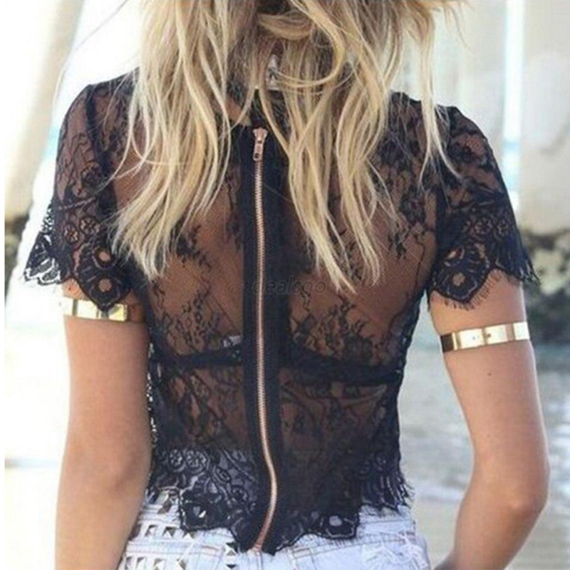 Back Zipper Lace Hollow Summer Women Short Sleeve Elegant Crochet Crop Top Hollow Out Tank Tops New