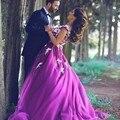 Romántico Púrpura Baile Vestidos Largos Modestos Vestidos de Baile Elegante Vestidos de Bola de Moda de Gasa Novia Piso-Longitud Vestido E020